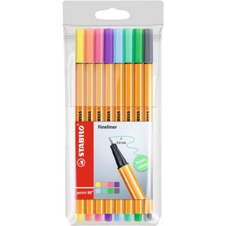 STABILO point 88 Fineliner, Etui Pastell colours, 8 Farben